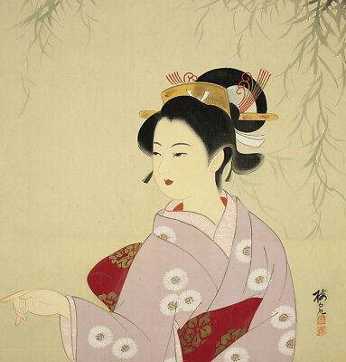 "JAPANESE HANGING SCROLL : BAISEN ""Willow and Kimono Beauty""  @f747"