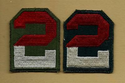 Original Ww2 Us Army 2Nd Army Od Border & Ag Border Patch Set