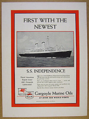 1951 American Export Lines SS INDEPENDENCE ship art Socony-Vacuum oil vintage Ad