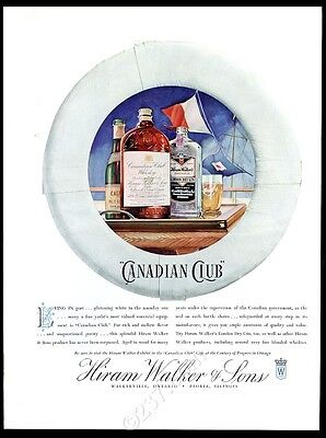 1934 Canadian Club whisky Hiram Walker's gin life preserver pic vintage print ad
