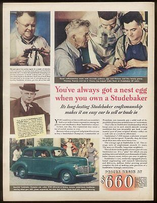 1940 Studebaker green coupe car photo vintage print ad