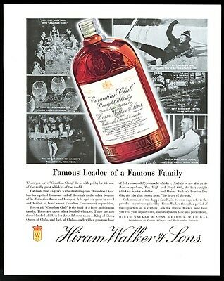 1935 Canadian Club Straight whisky New York bartender skier showgirl photo ad