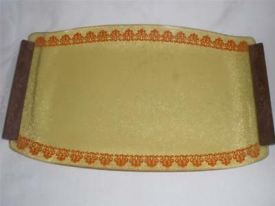 Retro Vintage Amber Glass Tray And 6 Glasses Patterned 1940-50