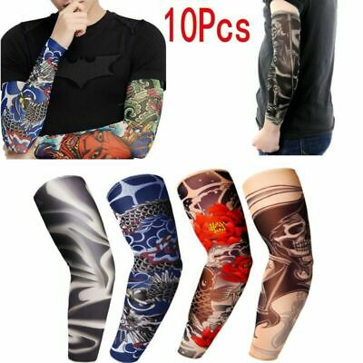 10PCS Cooling Arm Sleeves Cover UV Sun Protection Basketball Golf Sport Tattoos