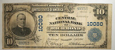 1902  US $10 National Banknote, Richmond Virginia, Central National Bank, Fine