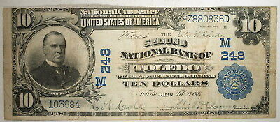 1902  US $10 National Banknote, Toledo Ohio, Second National Bank, Fine+