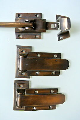 "rare ICE BOX CATCH lever & 2 HINGES aged style solid Brass heavy offset 4 "" B"