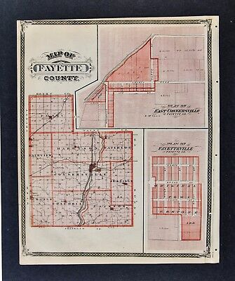 1876 Indiana Map Fayette County Fayetteville East Connersville