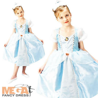 Deluxe Cinderella Girls Disney Princess Fairytale Kids Childs Costume Outfit New