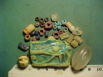 30+ Ancient beads circa 1000 BC- 700 AD +  Egyptian glazed faience   amulet