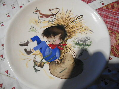 Brixham pottery Devon nursery rhymes vintage children plate Little Boy Blue
