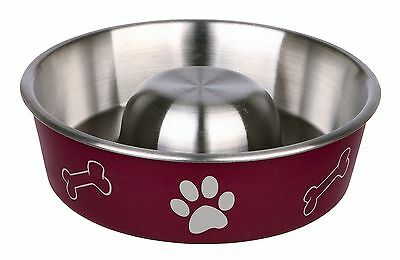 TRIXIE Slow Feeder No Gulp Dogs Stainless Steel Bowl Pet Food 2 sizes 3 colours