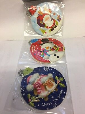 30 X Christmas Gift Tags WITH STRINGS - BAUBLE SHAPE 3 DESIGNS