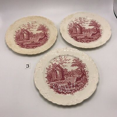 "Taylor Smith English Abbey Plates 9.25"" Vintage Perfectly Shabby Crazing Chips"