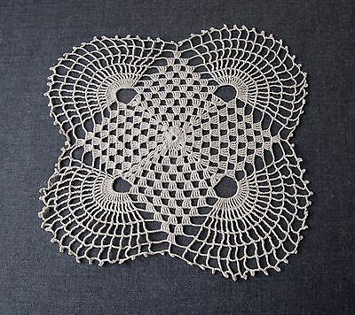 Antique Crocheted Flower Shaped Cushion Top Cover Only