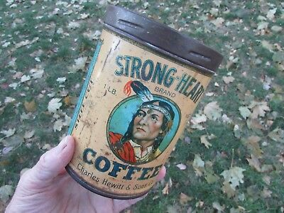 STRONG-HEART 1 pound Coffee tin advertising Charles Hewitt & Sons Co.