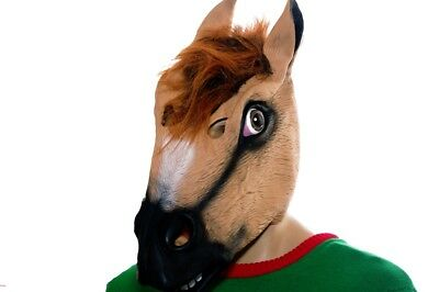 Adult Mens Horse Head Halloween Costume Mask Purim Pony Animal Wig One Size NEW