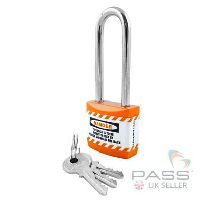 Lockout Tagout Jacket Padlock with Long Shackle - Key Different (Orange)