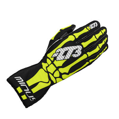 Minus 273 Kart Skeletal Racing Karting Gloves Handschuhe Fluo Yellow 2XS