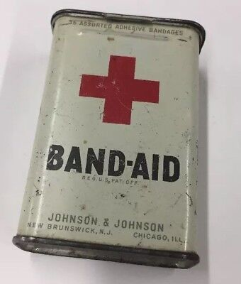 Vintage Early BAND-AID Tin Red Cross Mecurochrome Johnson & Johnson First Aid