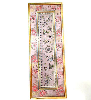 Antique Chinese embroidered Silk Butterfly Fabric Picture 9x23.5 Gold Frame
