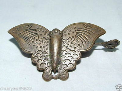Rare Chinese Old Style Brass Carved Butterfly Lock And Key