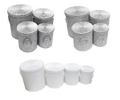 Strong Tapered Woven Round Grey Lidded Laundry Storage Basket Lined PVC Handle