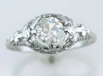 Vintage Antique GIA Certified .80ct Diamond 18K Gold Art Deco Engagement Ring