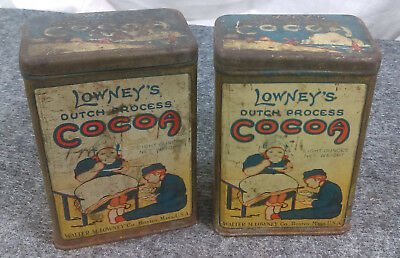 Vtg Lot/2 LOWNEY'S COCOA Tin Litho Can Dutch Windmill 8-Ounce Antique