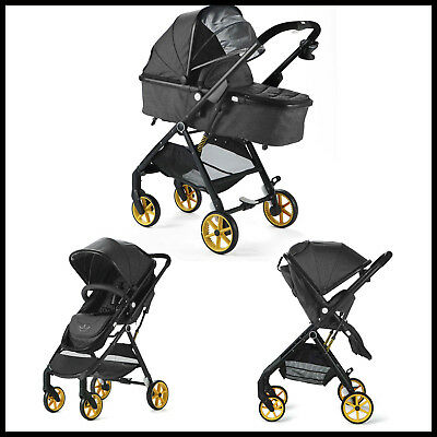 Allis Baby Pushchair 2in1 Pram Travel System Buggy Ultralight - Grey