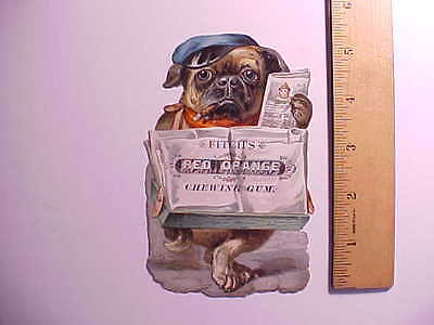 1870s FITCH'S RED ORANGE CHEWING GUM TRADE CARD WITH BULLDOG INDIANA VG+