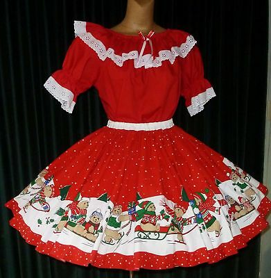 """Square Dance Christmas Theme 2pc Blouse & Skirt Outfit - M/Lg - Bust-44"""" W28-36"""""""