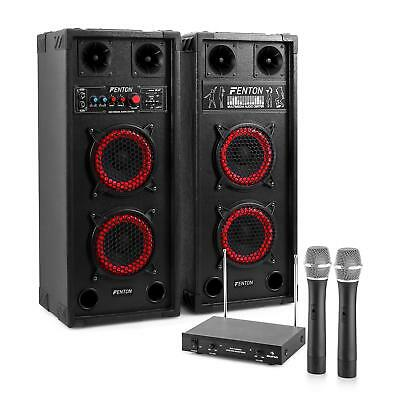 KARAOKE PARTY SYSTEM PA LAUTSPRECHER SET MP3 SPIELER 2x WIRELESS MIC USB SD 600W