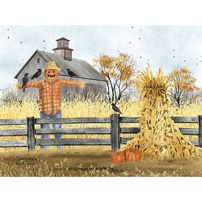 Billy Jacobs Scatterbrains Scarecrow and Pumpkin Art Print 24 x 18