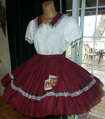 """Square Dance Christmas Theme 2pc Blouse & Skirt Outfit - XL - Bust-48"""" W32-50"""""""