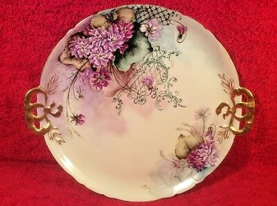 Antique Hand Painted French Limoges Purple Flowers Dresser Tray c.1900, L355