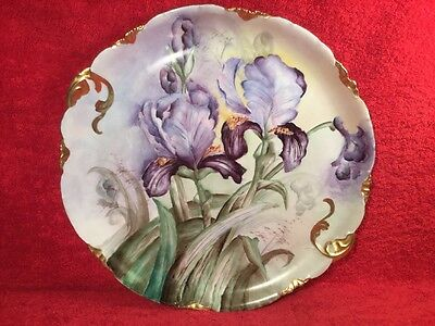 Huge Antique Hand Painted Purple Iris Flowers Wall Charger c.1891-1907, p285