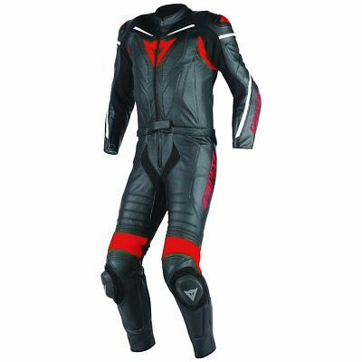 Dainese Laguna Seca D1 2-pc Mens Leather Motorcycle Suit Black/Black/Red