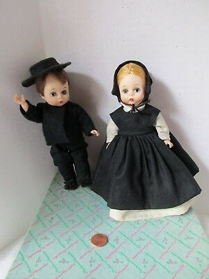 Amish Couple Madame Alexander Dolls 1960s tagged complete Vintage Boxed 8 Inch