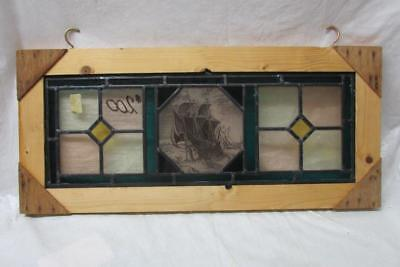 Antique English Stained Glass with Shipwreck Center Piece