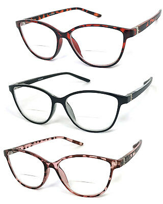 1 or 2 Pairs Womens Retro Cat Eye Frame Bifocal Reading Glasses Spring Temples