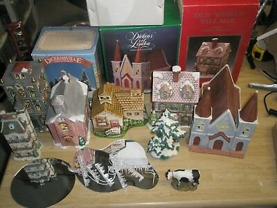 Lot of 10 Christams Village Buildings, Trees, ponds, cow, O'well, Dickens MORE