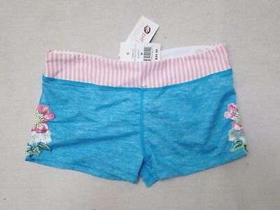 NWT California Kisses dance wear shorts embroidered lace blue adult S M