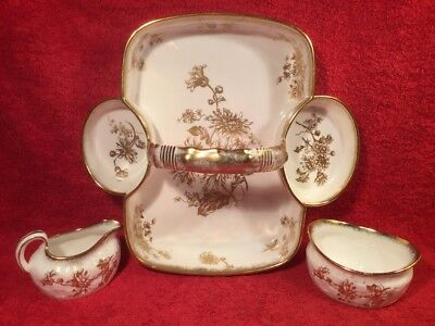 Antique English White with Gold Mum Flowers 3 Piece Strawberry Server c.1930's