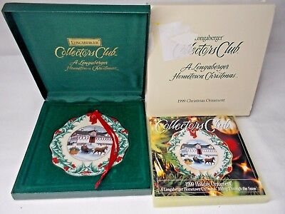 Longaberger Collector Club Ornament Hometown Christmas 1999 Riding Through Snow