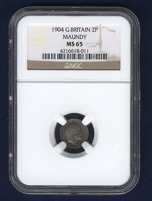 England Edward Vii  1904  Two Pence Maundy Coin Uncirculated Certified Ngc Ms65