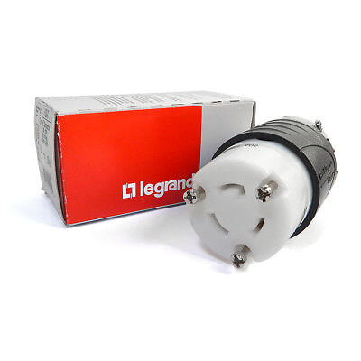 NEW Pass & Seymour L520-C Turnlok Connector 20A 125V 2 Pole 3W Black & White
