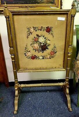 Antique Puff Embroidered Roses Fire Screen