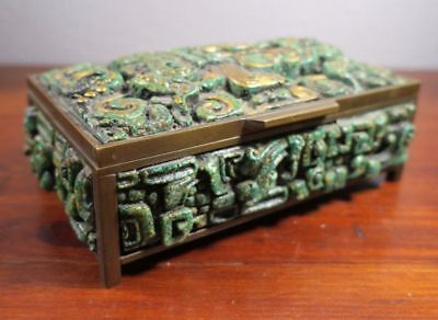 Inca Mayan Aztec Crushed Relief Molded Turquoise & Brass Box