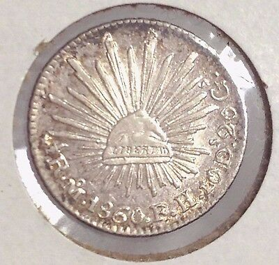1860 M-FH Mexico 1/2 Real cap & rays silver, AU